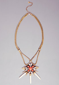 CRYSTAL HORN CHAIN NECKLACE at bebe