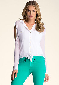 bebe Button Up Top