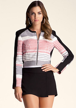 bebe Tribal Cropped Jacket
