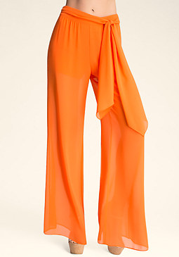 WIDE LEG TIE PANTS at bebe