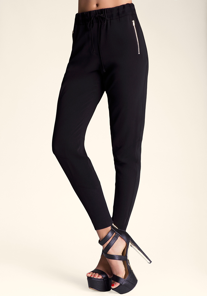 Tie Waist Ribbed Inset Pant