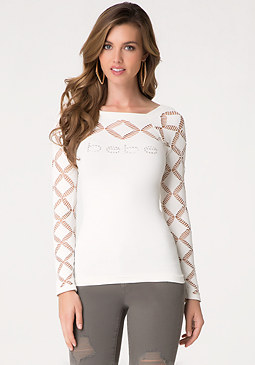 bebe Logo Diamond Slash Top