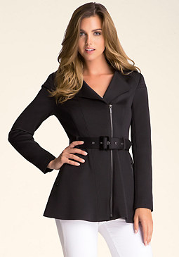 Peplum Trench Coat at bebe