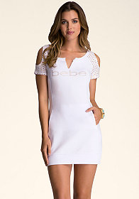bebe Split Neck Tunic Dress