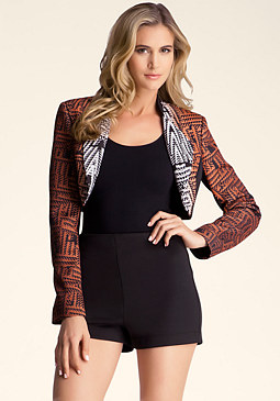 bebe Printed Cropped Jacket