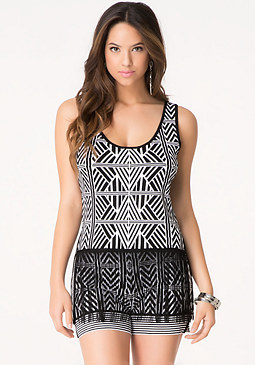 bebe Tribal Fringe Sweater Tank