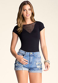 bebe Plunging Neck Top