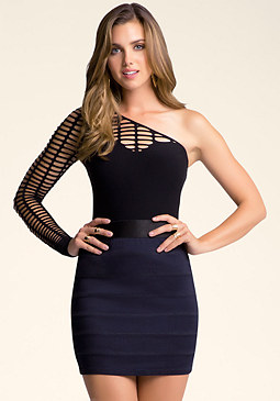 bebe One Shoulder Slash Bodysuit