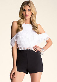 bebe Fringe Cold Shoulder Top