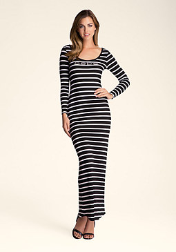 bebe Laced & Striped Maxi Dress