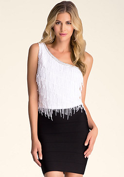 bebe Asymmetric Fringe Top