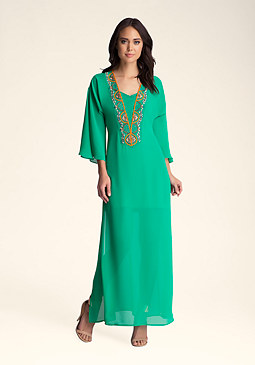 bebe Beaded Kaftan Dress������