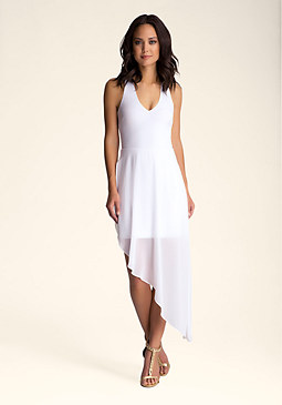 Deep V-Neck Hem Dress at bebe