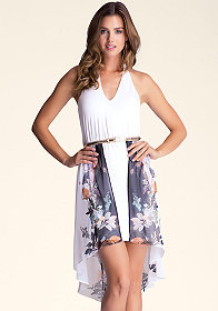 bebe Asymmetrical Halter Dress
