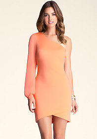 One Shoulder Bell Dress at bebe