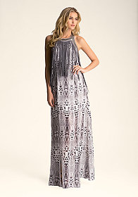 bebe Fringed Halter Maxi Dress