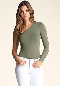 bebe Slash Sleeve Bodysuit