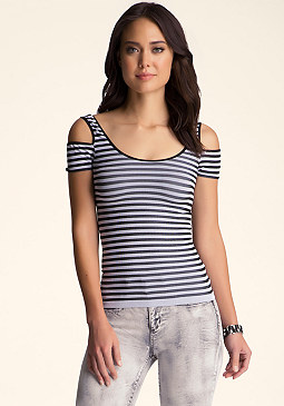 bebe Cold Shoulder Striped Top