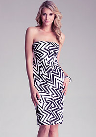 bebe Strapless Tribal Mini Dress