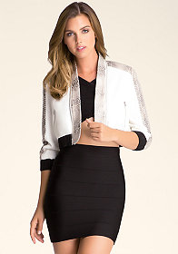 bebe Snake Zipper Trimmed Jacket