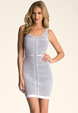 bebe Striped Body Con Dress