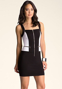 bebe Zippered Colorblock Dress