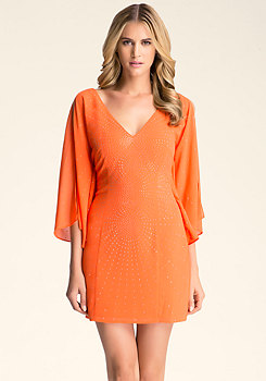 EMBELLISHED SLEEVE DRESS at bebe