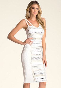 bebe Embellished-Front Midi Dress