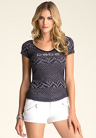 Deep Back Scoopneck Tee at bebe