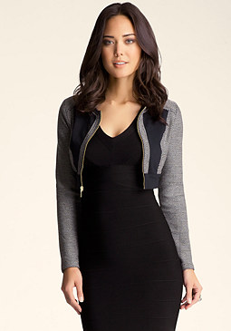 bebe Cropped Tweed Jacket