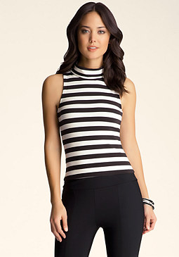 bebe Stripe Mockneck Top