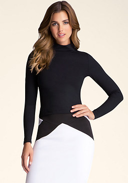 bebe Mockneck Long Sleeve Top