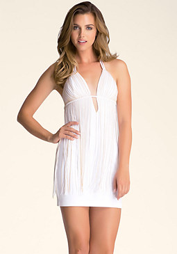bebe Fringe Open Back Dress