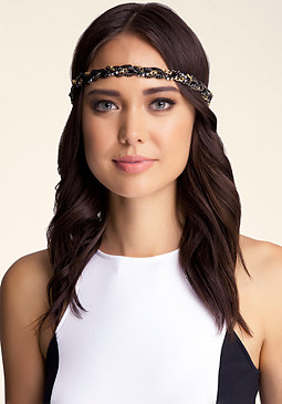 bebe Chain Wrapped Tie Headband