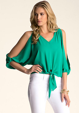bebe Tie- Front Slit Sleeve Top