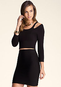 bebe Cold Shoulder Slit Crop Top