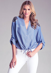 bebe Tie Front Utility Shirt