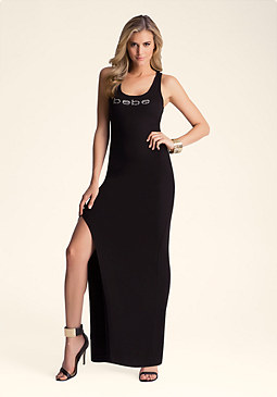 bebe Side Slit Tank Maxi Dress