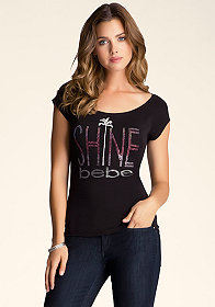 bebe Shine Merrow Edge Tee