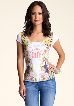 bebe Graphic Short Sleeve Top