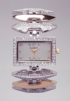 bebe Double Arrow Chain Watch