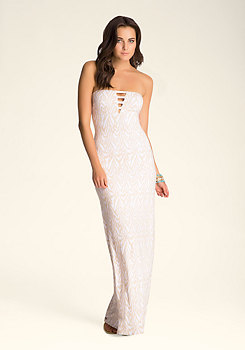 bebe Strapless Detail Maxi Dress