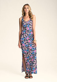 Logo Double Slit Maxi Dress at bebe