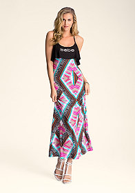 bebe Cropped Flutter Maxi Dress