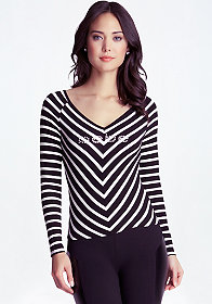 bebe Long Sleeve Chevron Top