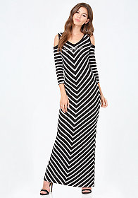 bebe Cold Shoulder Chevron Dress