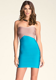 bebe Crossfront Colorblock Dress