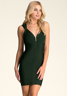 bebe Deep V Zipper Bodycon Dress