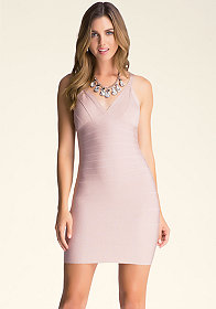 bebe Double V Lurex Dress