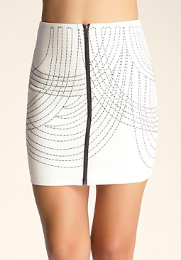 bebe Wave Stitch Mini Zip Skirt